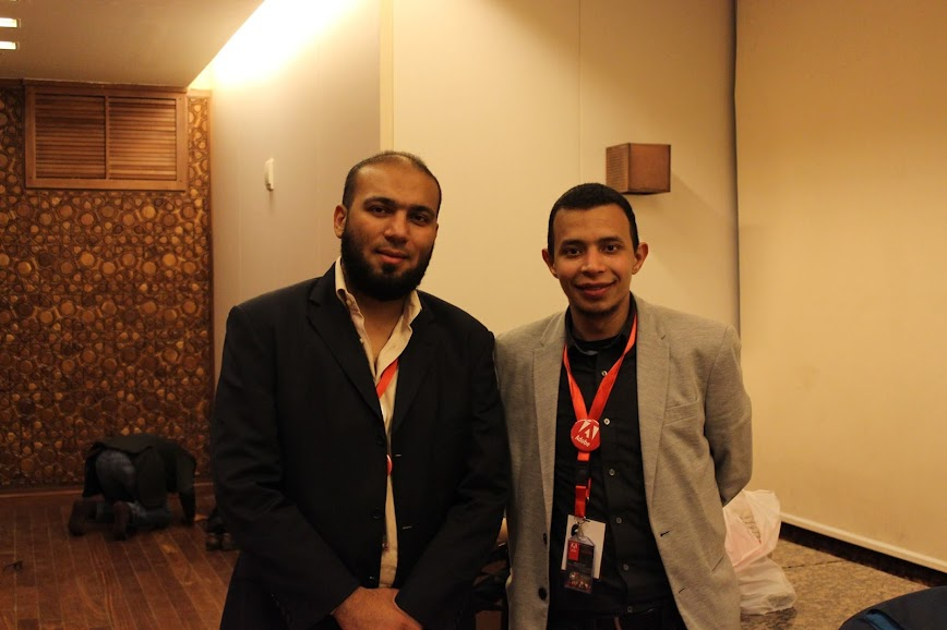Ahmed Rabiah with Mohamed Shehata on the AUC UIUX Adobe Event