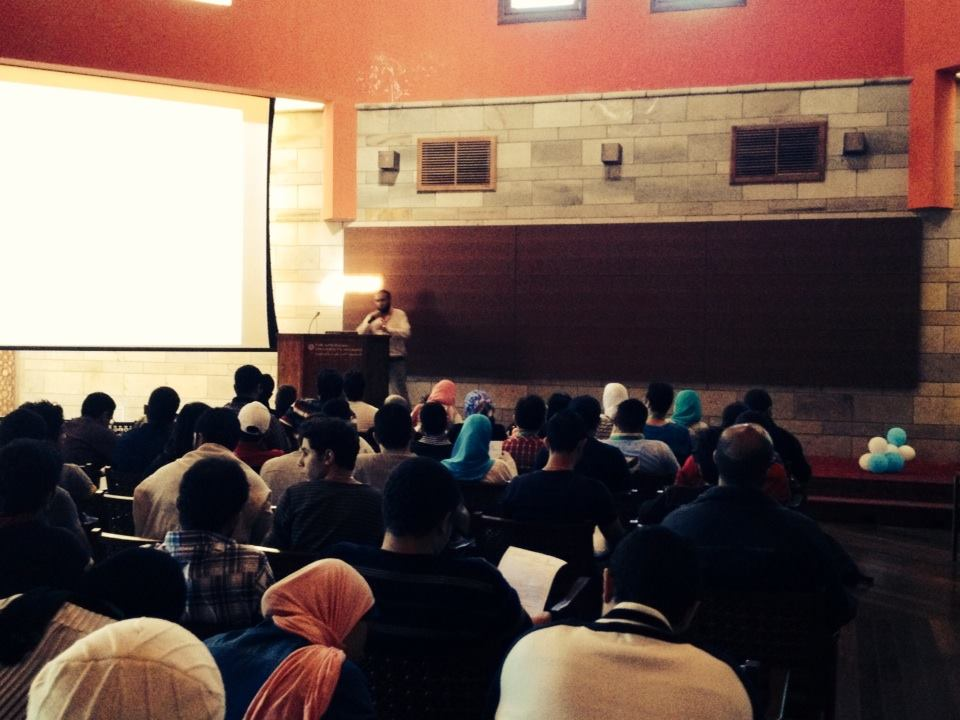 Mohamed Shehata on the Stage of the AUC giving a UIUX Session